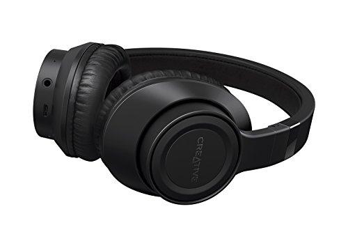 Creative Outlier Black –Kabelloser Bluetooth-Kopfhörer, 13 Stunden Wiedergabezeit, ausgezeichneter Klang, komfortabel, federleicht und faltbar, mit integriertem Mikrofon und Musiksteuerung (Schwarz)
