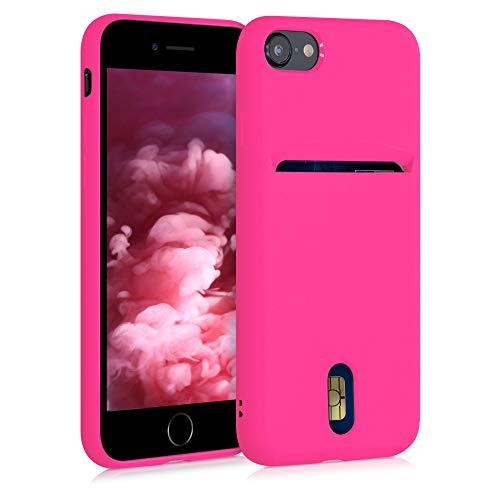 kwmobile Funda Compatible con Apple iPhone 7/8 / SE (2020) - Carcasa de Silicona con Tarjetero y Acabado de Goma - Rosa neón
