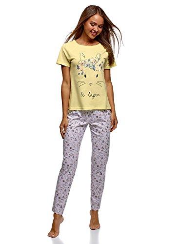 oodji Ultra Mujer Pijama de Algodón con Pantalones, Amarillo, ES 40 / M
