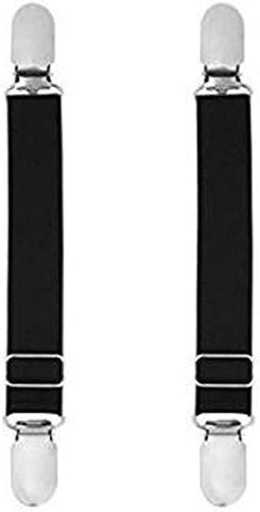 1 Pair Adjustable Stocking Clip Suspender Garter Straight Belt Straps Shirt Sock Stays Holder with Metal Clasp