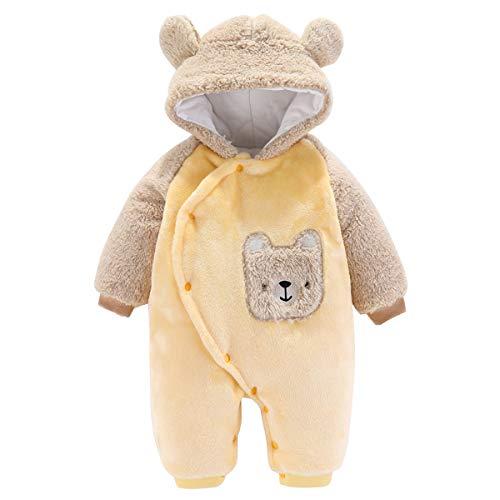 Haokaini Baby-Strampler mit Kapuze und Bärenwärmer aus Baumwolle und Fleece (9-12 Monate, Gelb)