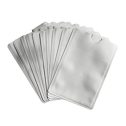 Leen4You RFID Blocking Sleeves Passport Bank Card Credit/Debit ID Card Anti Theft RFID Blocking Safety Sleeve Aluminum Shield Waterproof Protector Secure Holder Silver Pack of 10