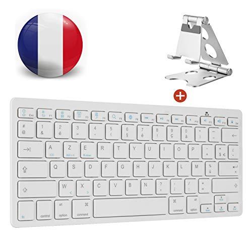AGPTEK–Teclado inalámbrico Bluetooth, Teclado francés AZERTY Bluetooth con Funda metálico para Apple Mac, iPad, Tablet, teléfono, Teclado AZERTY Bluetooth energía iOS, Android y Sistema Windows