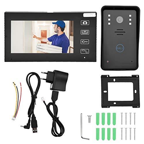 Naroote Videocitofono, 7 Pollici TFT 2.4G Videocitofono visivo Senza Fili Citofono Videocitofono Sicurezza Domestica(Unione Europea)