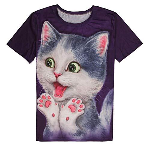 Xmiral Oberteile Tops Herren Niedlich Katze 3D Gedruckte T-Shirt O-Ausschnitt Kurzarmshirt Sommer Freizeit Polyester Sweatshirt Jogger Fitness(A Violett,XL)