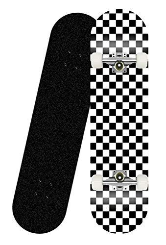 khrodis 31x8 Zoll komplettes Skateboard für Teenager und Erwachsene, 7-lagige konkave Oberfläche aus vergrößertem Ahorn-Doppelkickdeck und All-in-One-Skateboard-T-Tool für Anfänger-Schachbrett