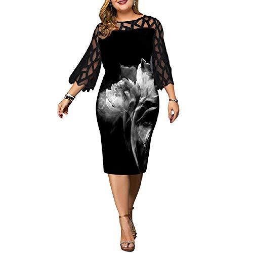 Vestido de mujer 4XL 5XL 6XL más tamaño vestido para señoras cumpleaños malla impresa negro vestido de fiesta sexy Clubwear ropa de verano