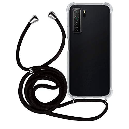 MyGadget Handykette für Huawei P40 Lite 5G TPU Hülle mit Band - Handyhülle mit Handyband zum Umhängen Kordel Schnur Hülle Schutzhülle - Schwarz