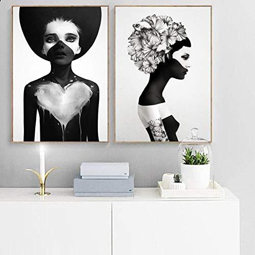 Pintura sin Marco Art Nordic Poster Fashion Girl Wall Picture para Sala de niños Moderna decoración en Blanco y Negro ZGQ5110 60X80cmx2