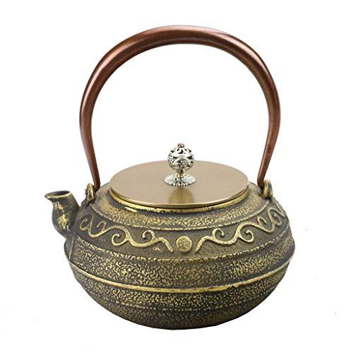 WOHAO Infusor Tetera de cerámica Caldera de té, Moldeada Inferior Hierro Tetera Grano Antiguo Caldera de té Conjunto Piso en carbón de leña Estufa de Inducción 1.2L