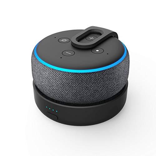 Base de bateria GGMM D3 para Alexa Echo Dot 3ª geração, uso livre Dot 3rd na cozinha, banheiro, varanda ou jardim, preta (Não inclui Alexa Echo Dot 3)