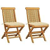 Ksodgun Gartenstühle mit Cremeweiß Kissen 2 STK. Massivholz Teak Hochlehner Gartensessel Terassenstuhl