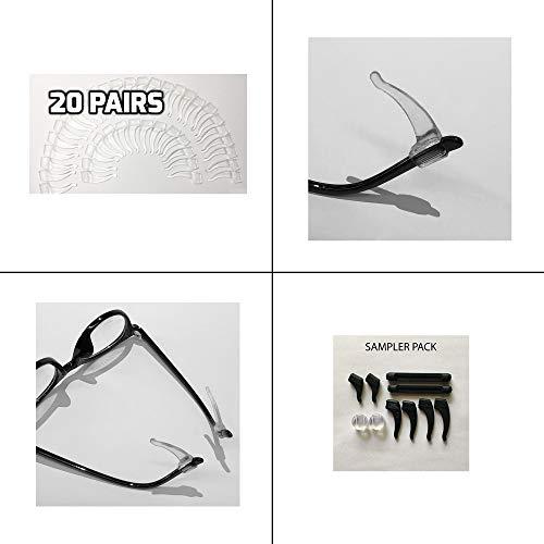 20 PAIRS Keepons Superior Clear Prevent Eyeglass Slipping Anti Slip Anti Slide Eyewear Sunglasses Spectacles Glasses Temple Tips Sports Ear Hooks Sleeves Retainer + assorted 5 PAIR Sampler Pack