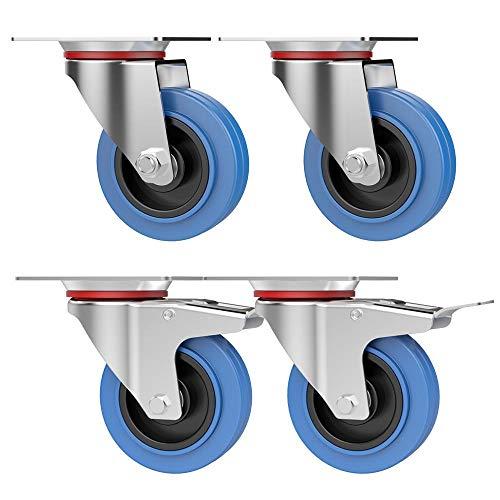 Yaheetech 4x Schwerlastrollen Ø100mm Lenkrollen Platterollen aus Gummi, 2 mit Bremse, 45 KG/Laufrollen, 360° drehbare Räder