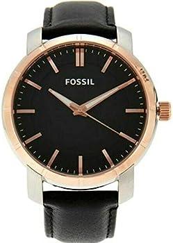 Fossil BQ1286 Lance Rose Gold Dial Black Leather Strap Men's Watch
