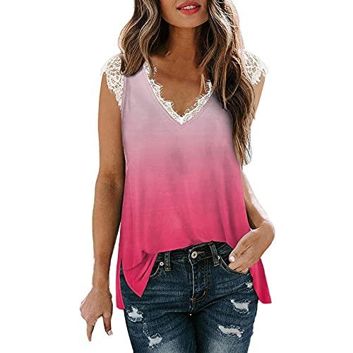 Damen Sommer T Shirt Ärmellose Oberteile Sexy Spitze V-Ausschnitt Tie Dye Gradient Drucken Tshirt Tank Tops Casual Basic Blusentop Weste Lässige Sommerbluse Elegant Pullover Sweatshirt