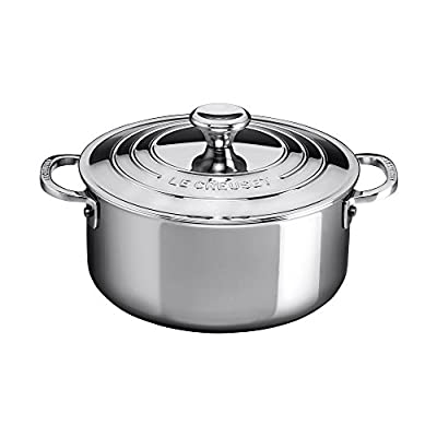 Le Creuset SSP3000-24 Tri-Ply Stainless Steel Shallow Casserole with Lid, 5.5-Quart