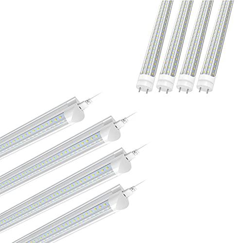 SHOPLED 6FT Linkable LED Utility Shop Lights for Garage, 4 Pack, T8 LED Tube Light Bulbs 4FT, 6000K Cool White Light, D-Shaped, Bi-Pin G13 Base, 4 Pack