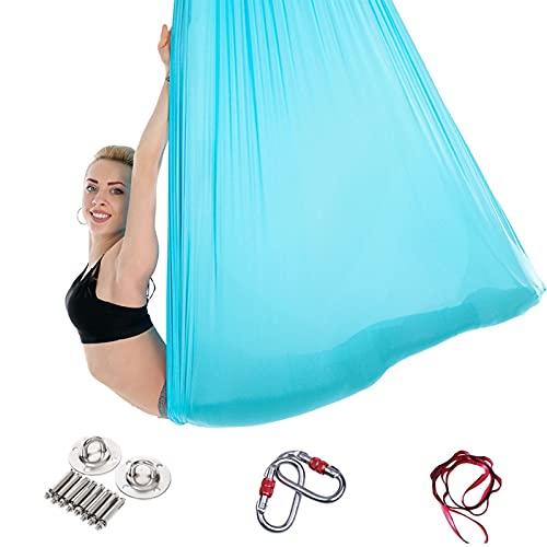 GLYIG Juego de Columpio de Yoga aéreo y Kit de Hamaca para Mejorar Las inversiones de Yoga, flexibilidad, Fuerza del núcleo y Alivio del Dolor de Espalda - Columpio sensorial - Columpio de Yoga aéreo