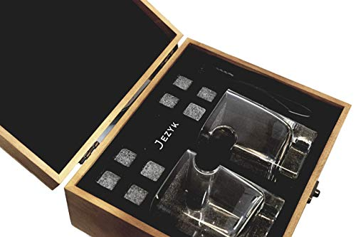 Whiskey cigar glass set- 2 whiskey cigar glasses, 8 granite chilling rocks with tongs, velvet pouch and cigar cutter in wooden box. Best gift set for men, dad, husband, boss, birthday, holiday.