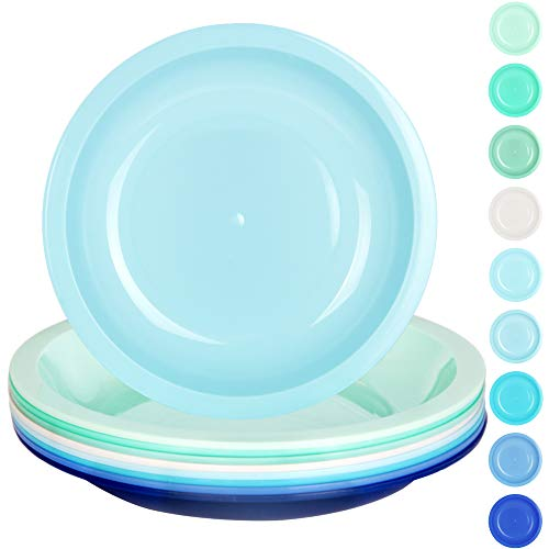 Youngever 7.5 Inch Plastic Plates, Small/Kid Size, Kids Plates, Toddler Plates, Snack Plates, Microwave Safe, Dishwasher Safe, Set of 9 in 9 Coastal Colors