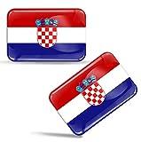 Biomar Labs 2 x Aufkleber 3D Gel Silikon Stickers Croatia Kroatien Flagge Fahne Auto Motorrad Fahrrad Fenster Tür PC Handy Tablet Laptop F 43
