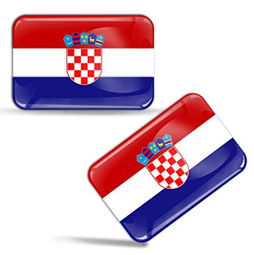 Biomar Labs® 2 x Aufkleber 3D Gel Silikon Stickers Croatia Kroatien Kroatische Flagge Fahne Flag Auto Motorrad Fahrrad Fenster Tür PC Handy Tablet Laptop F 43