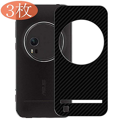 【3 Pack】 Synvy Back Screen Protector for ASUS ZenFone Zoom ZX551ML Ultra Thin TPU Flexible Protective Screen Film Protectors 3D Carbon Fiber Skin Sticker [Not Tempered Glass] - Black