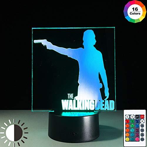 KangYD Luz nocturna 3D The Walking Dead, lámpara de ilusión óptica LED, E - Base para despertador (7 colores), Regalo de San Valentín, Regalo para niño, Lámpara cálida