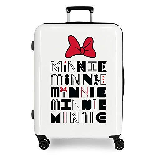 Disney Pretty Minnie Maleta Mediana Blanco 48x70x26 cms Rígida ABS Cierre TSA Integrado 81L 2 kgs 4 Ruedas Dobles