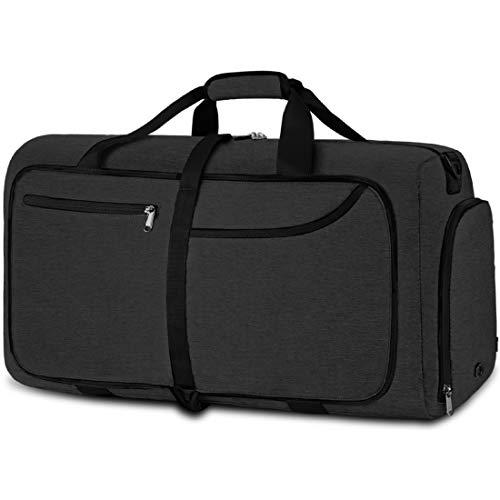 NEWHEY Reisetasche Groß 40L Faltbare Reisetaschen Leichte Sporttasche für männer mit Schuhfach für Weekender Herren Damen Duffel Taschen (Schwarz-40L)