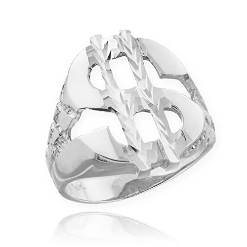 Men's 925 Sterling Silver High Polish Band Lucky Nugget Band Dollar Sign Ring (Size 10)