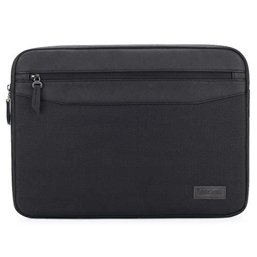LONMEN Polyester & PU-Leder mit Tasche Schwarz schwarz 14 Inch/13.5