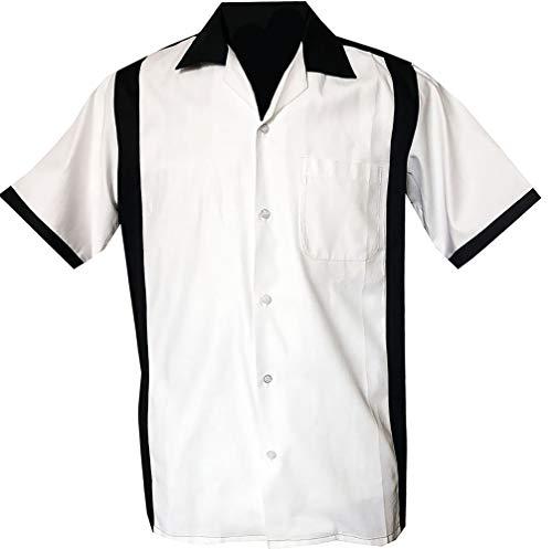 Rockabilly Fashions Herren Beiläufig Hemd zugeknöpft der 1950er Jahre 1960er Jahre Bowling Retro Vintages Hemd der Männer, Schwarz; Weiß (3XL)
