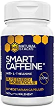 Natural Stacks Smart Caffeine Supplement 60ct - Instant Energy and Focus for Life School & Work - No Jitters and No Crash - Premium Sourced 100mg Caffeine from Coffee + 200mg L-Theanine from Green Tea