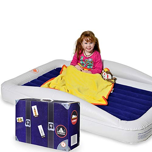 High Speed Pump and Travel Bag Included Lunvon Kids Inflatable Toddler Travel Bed with Safety Bumpers Portable Air Mattress for Kids Two Year Warranty Blow up Mattress with Sides