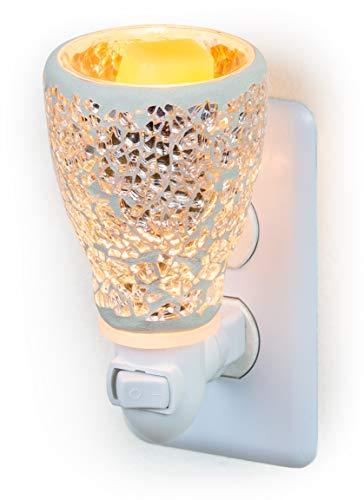 Dawhud Direct Mosaic Glass Plug-in Fragrance Wax Melt Warmers (Crackled Mirror)