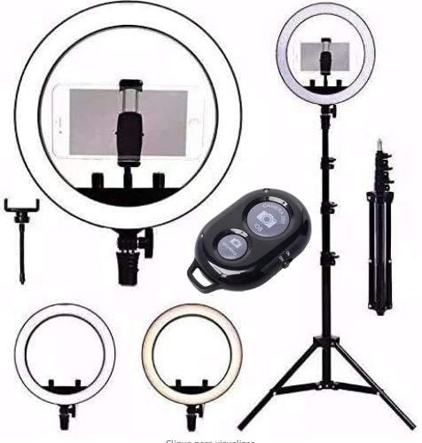 Kit Completo Anel Luz 26cm Com Tripé Dimmer Youtuber Selfie Pro + suporte celular + Controle Bluetooth
