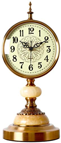 J-Clock Reloj de Escritorio silencioso, Reloj de Mesa, Reloj de Adornos de Reloj de Metal Retro, para Sala de Estar, Dormitorio, mesita de Noche, Escritorio