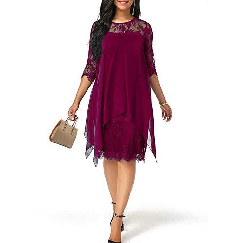 2020 Mujeres Vestido Informal de Media Manga Floja Elegante Cuello Redondo Color sólido Vestido de Encaje de Gran tamaño 15 Colores 2XS-5XL