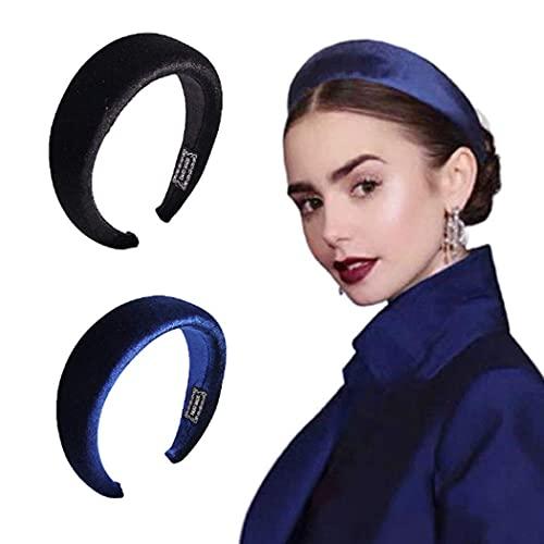 Diademas azules turbante diadema negra Vintage Yogo Pure Color Head Wrap para mujeres y niñas, paquete de 2, adecuado como regalo para niñas
