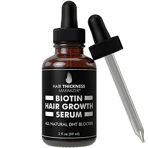 Biotin Hair Growth Serum by Hair Thickness Maximizer. DHT Blocker Oil For Hair Loss, Dry, Damaged, Hair. Natural Thickening and Smoothing of Hair and Nourishing of Scalp for Women and Men (2oz)