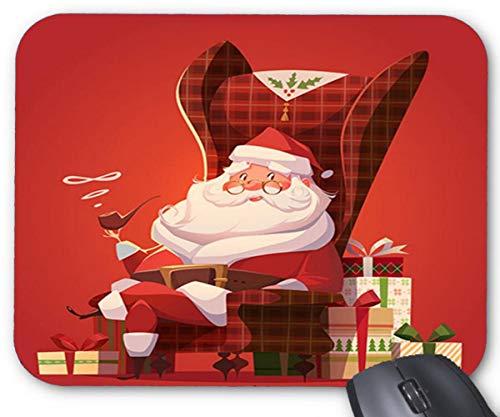 Santa entspannend in einem schaukelstuhl und geschenkboxen design-mauspad