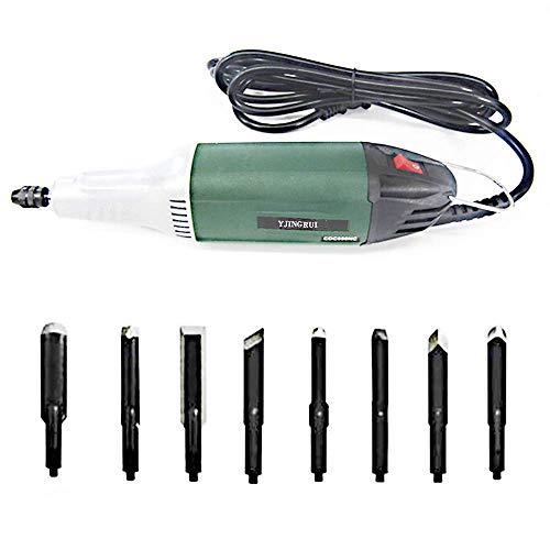 YJINGRUI Elektrische Meißel Elektrische Schnitzmaschine Holzbearbeitungswerkzeuge Meißel Werkzeug Set mit 8 Schnitzklingen 220 V