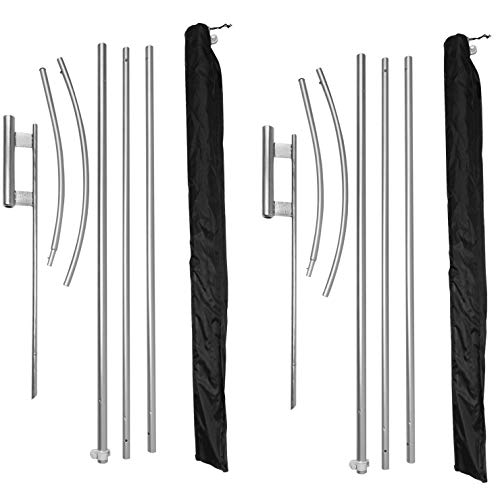 EasyGo Product 2 Pack Swooper/Feather Advertising Flag Poles – 5 Piece Pole - 2 Ground Spikes – Aluminum - 15 Foot Tall (EGP-Swooper-2pk)