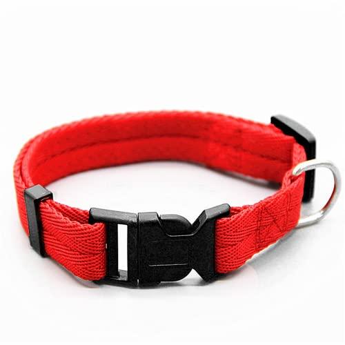 BGFS Collar de perro ajustable para mascotas collar de nylon para perro mascota 6 colores (M, Rojo)