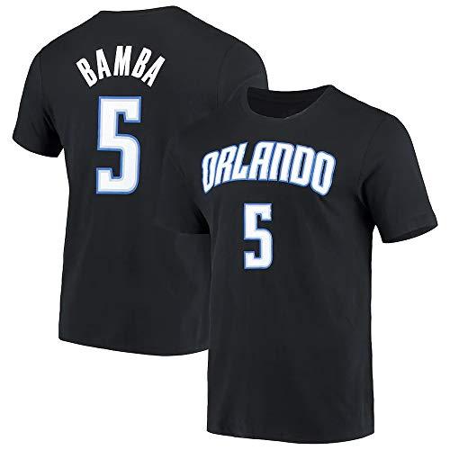 XSJY Camiseta NBA NA Jersey Orlando Magic # 5 MO Bamba Impreso Suelto Cómodo/Transpirable/Fresco Casual De Algodón Camisetas Tops,Negro,XXL:180~185cm