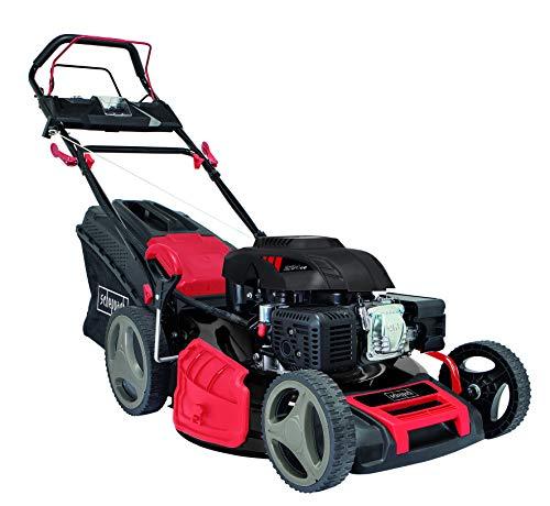 scheppach Benzin Rasenmäher MS225-53E - 7PS | E-Start | 53 cm Schnittbreite | Radantrieb | 7-fache Schnitthöhenverstellung | 65 Liter Fangkorb | Reinigungsfunktion
