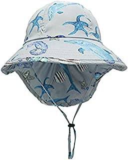 JJSPP Kids Sunhat Polyester Fabric Wide Hat With Neck Protection Summer Children's Sun Protection Hat (Color : C)