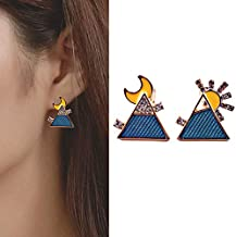 Abnh B381 triangle moon contrast earrings with asymmetric studs and sun geometric Earrings without ear holes(There are earholes. Steel needle F409)